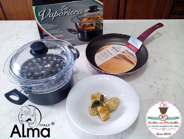 Rotolo di pasta al vapore con ricotta e zucchine