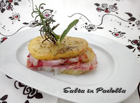 Millefoglie di patate con prosciutto cotto e mozzarella