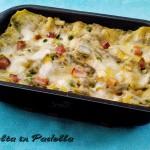Lasagne ai carciofi con besciamella mozzarella e prosciutto