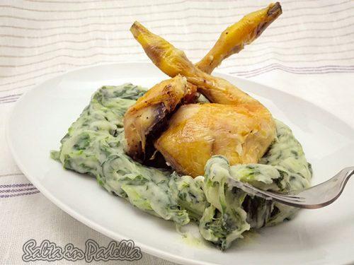 Galletto al vino bianco con pure di patate spinaci e mozzarella