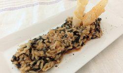 Risotto con spinaci pomodoro e pancetta