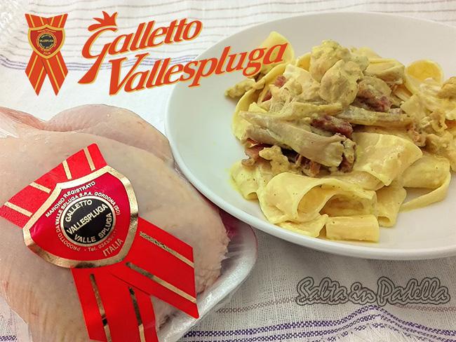 Pappardelle con Galletto Speck panna e Curcuma