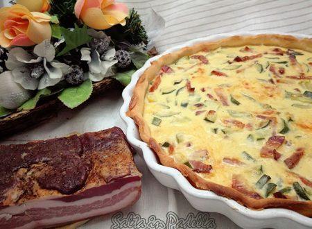 Quiche Lorraine con pancetta provola affumicata e zucchine