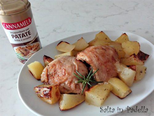 Patate al forno con aromi e pollo
