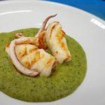 Calamari su vellutata di zucchine