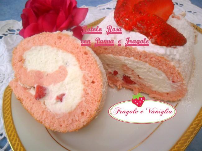 Rotolo Rosa con Panna e Fragole