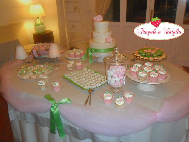 Sweet Table in verde e rosa