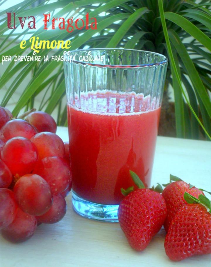 Succo di uva fragola e limone