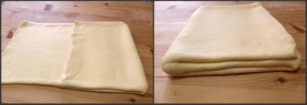 suddividi mentalmente la pasta in tre parti uguali e piega sulla parte centrale prima la parte di destra e poi quella di sinistra.
