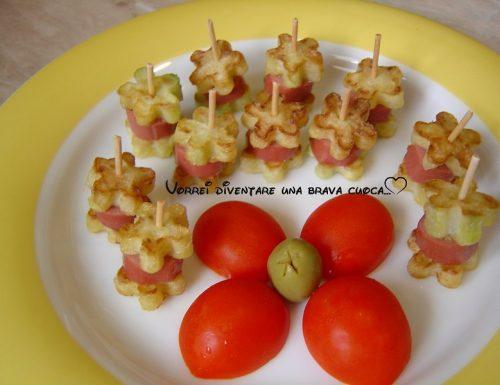 Mini spiedini di wurstel e zucchine