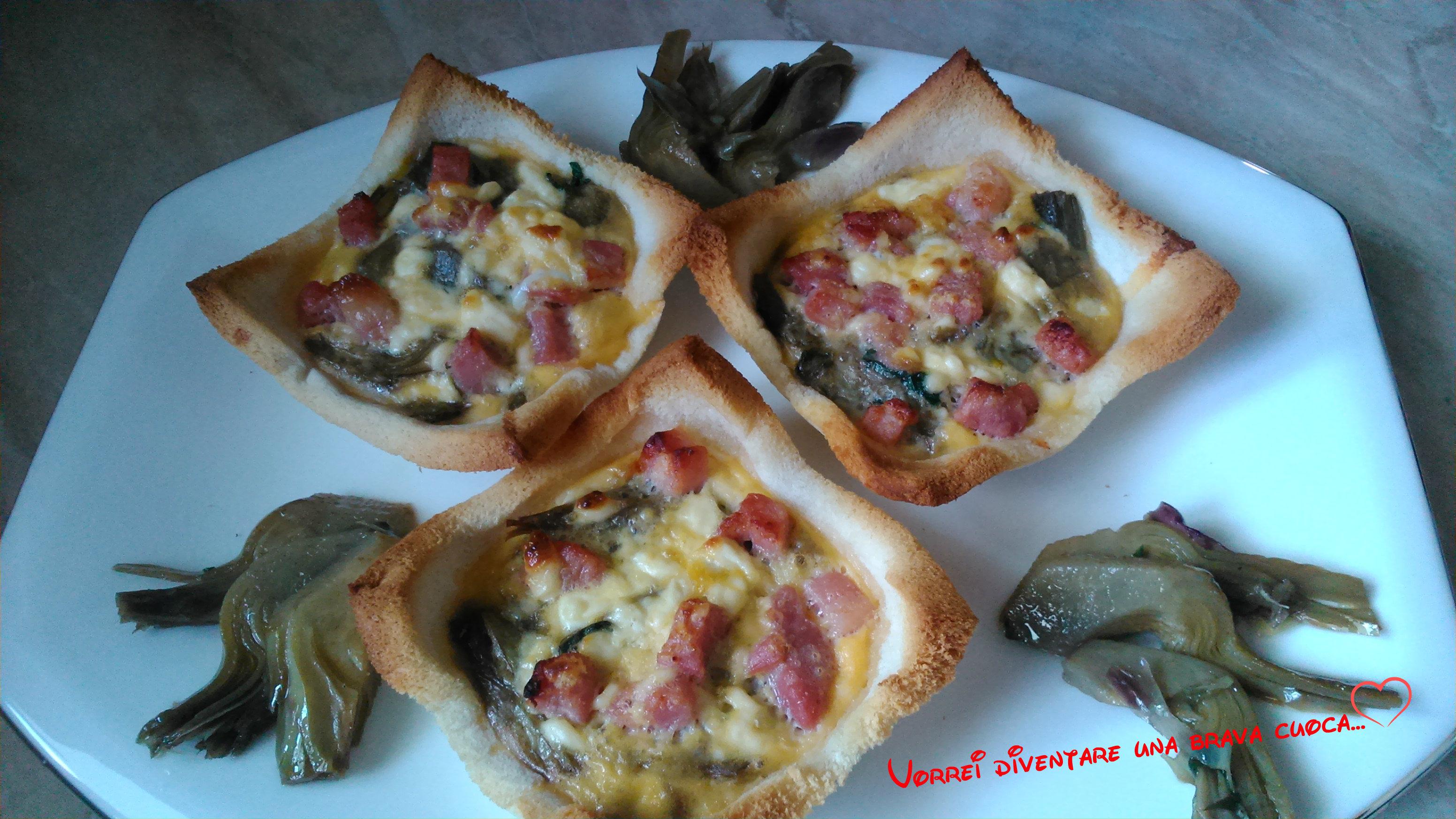 crostatine di pancarrè con carciofi e speck (1)