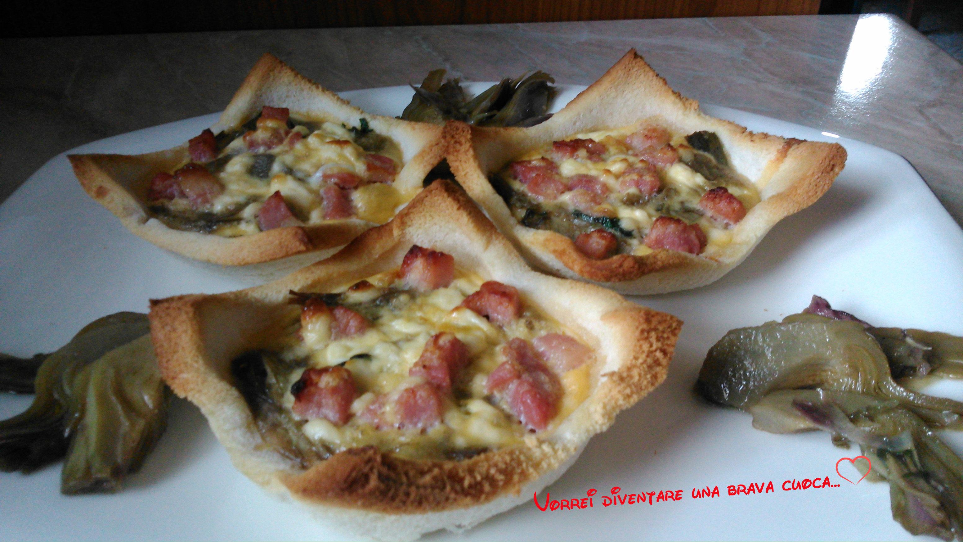 crostatine di pancarrè con carciofi e speck (2)