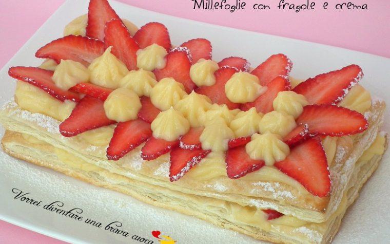 Millefoglie con fragole e crema