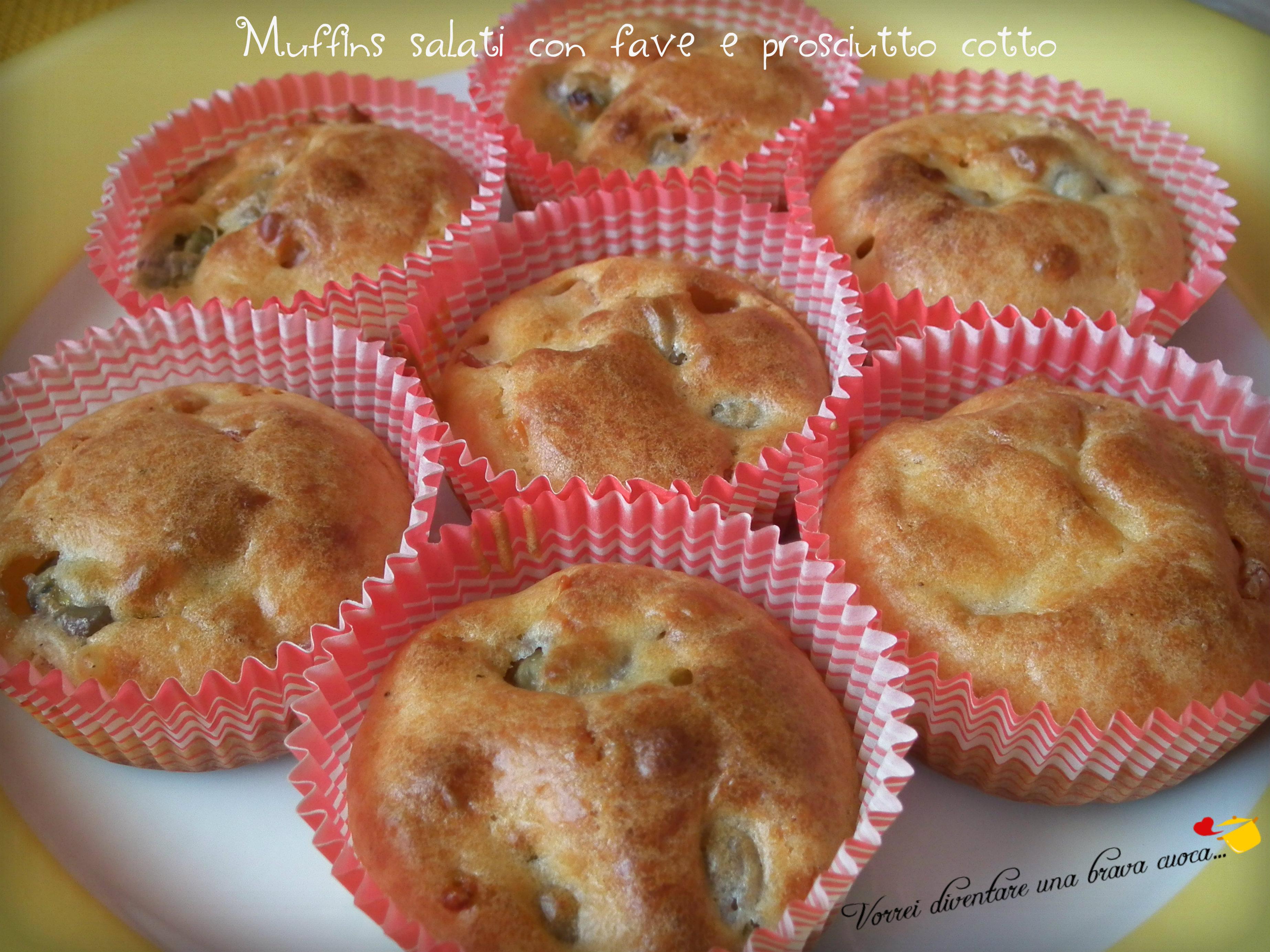 Muffins salati con fave e prosciutto cotto