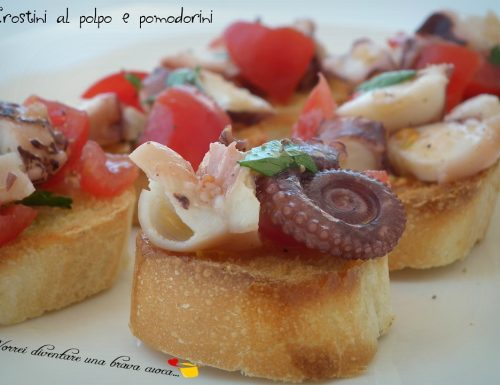 Crostini al polpo e pomodorini