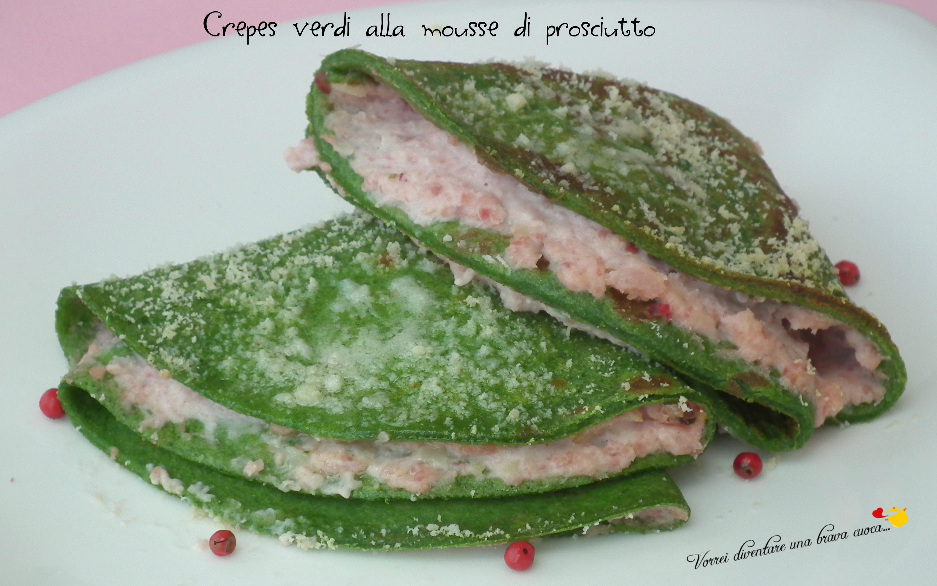 Crepes verdi alla mousse di prosciutto