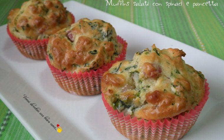 Muffins salati con spinaci e pancetta