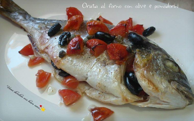 Orata al forno con olive e pomodorini