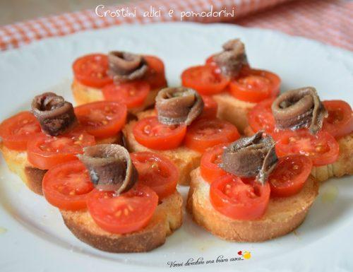 Crostini alici e pomodorini