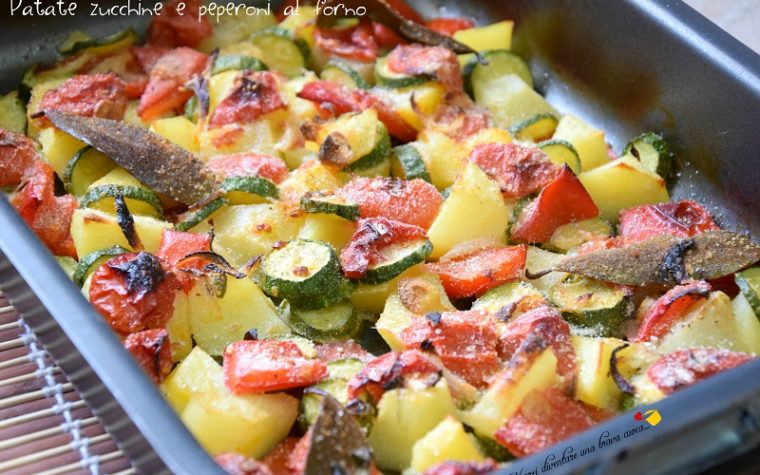 Patate zucchine e peperoni al forno