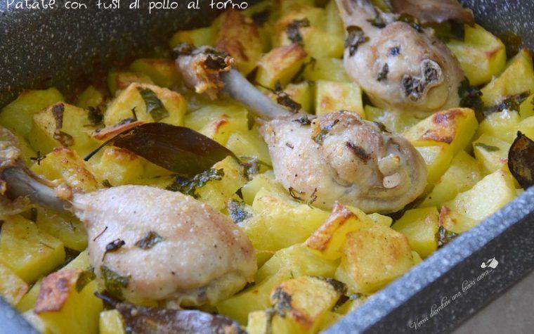 Patate con fusi di pollo al forno