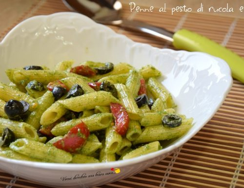 Penne al pesto di rucola e olive