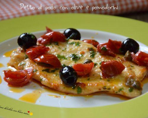 Petto di pollo con olive e pomodorini
