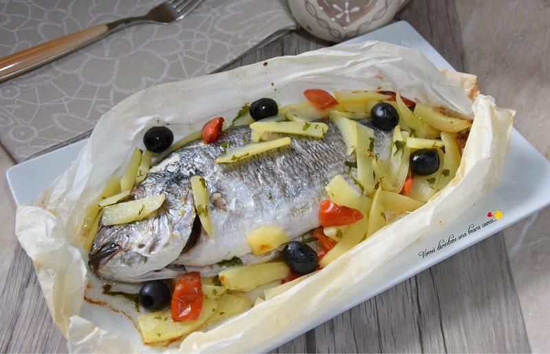 orate al cartoccio con patate e olive