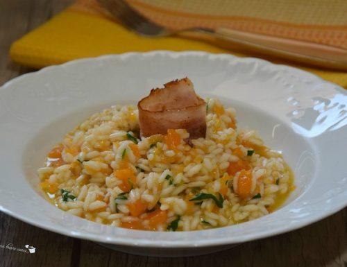 Risotto con zucca pecorino e pancetta croccante