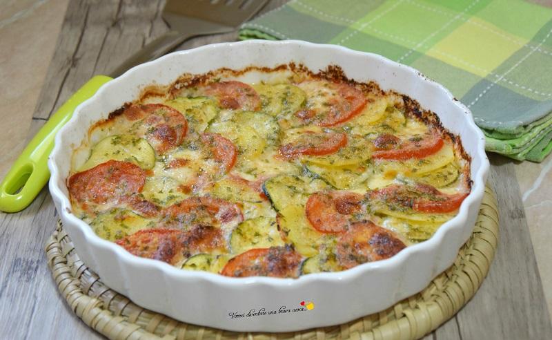 zucchine patate e pomodori al gratin