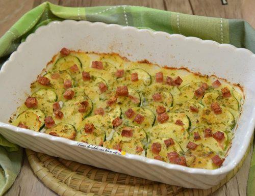 Zucchine patate e cotto gratinati