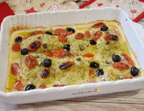 Baccalà con olive e pomodorini al gratin