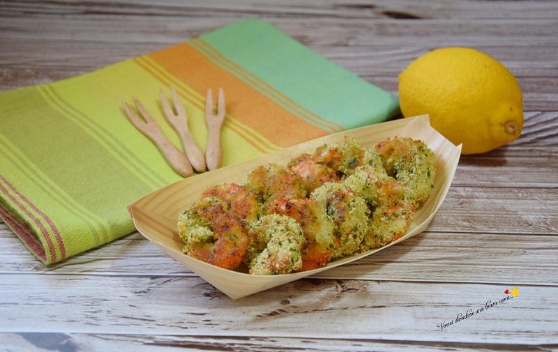 gamberoni al forno con panure al limone