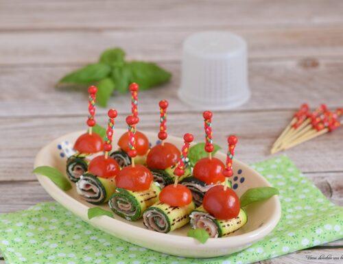 Involtini di zucchine con ricotta e cotto