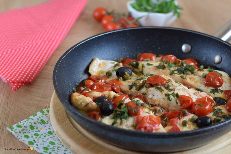 filetto di cernia con olive e pomodorini