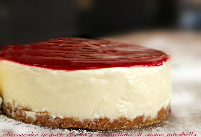 Cheesecake senza cottura con confettura di susine mirabelle