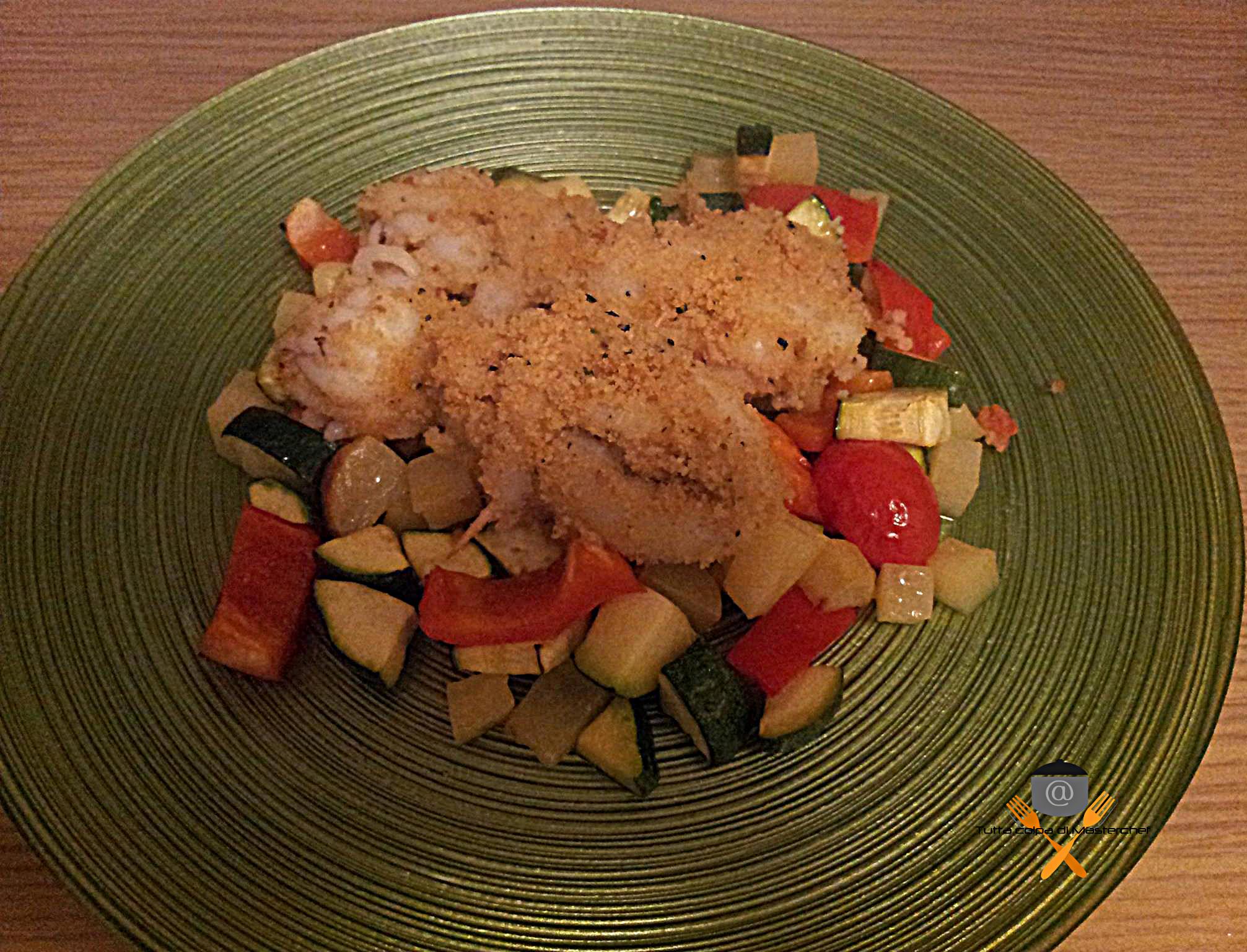 Seppioline gratinate con ratatouille di verdure