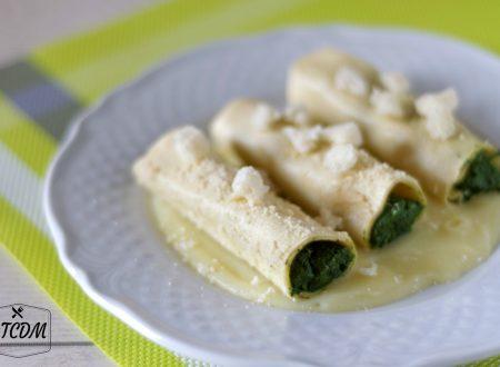 Cannelloni con crema leggera di zenzero e crostini