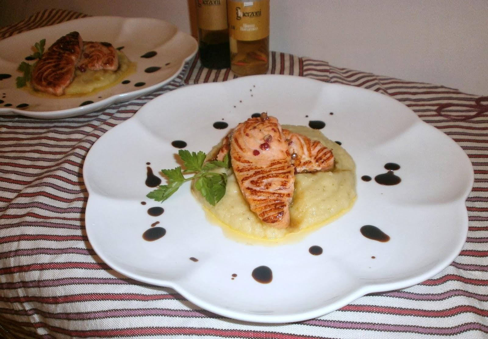 salmone marinato con crema di cavolfiori guerzoni