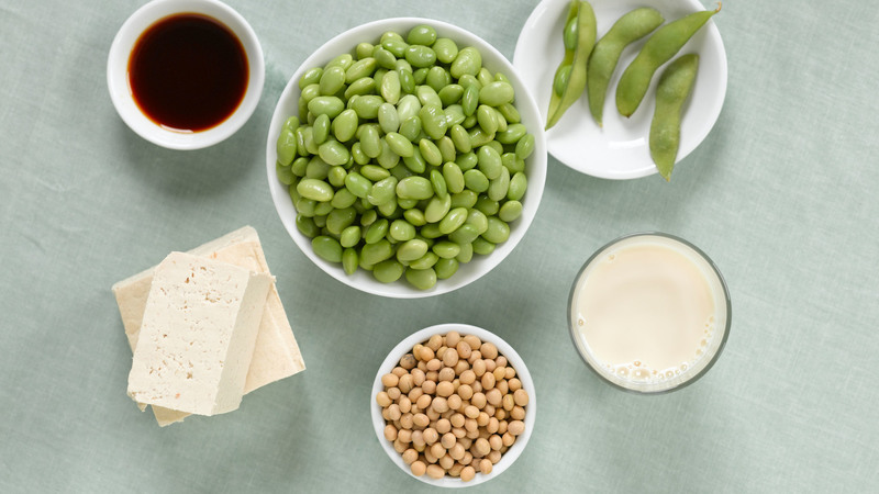 A4B0CH Variety of Soy Products: Edamame, Soy Milk, Soy Sauce, Dried Soy Beans, Tofu and Fresh Soy Beans