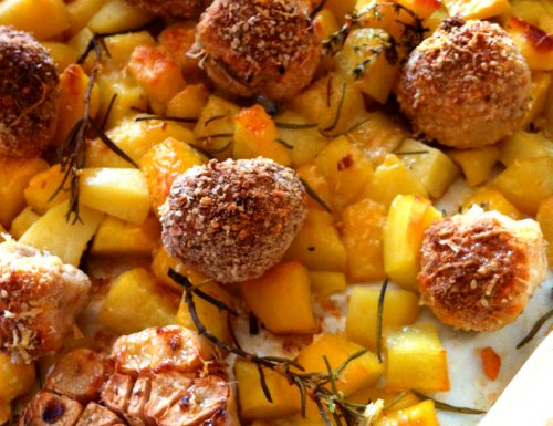 Polpette di pollo e patate al forno