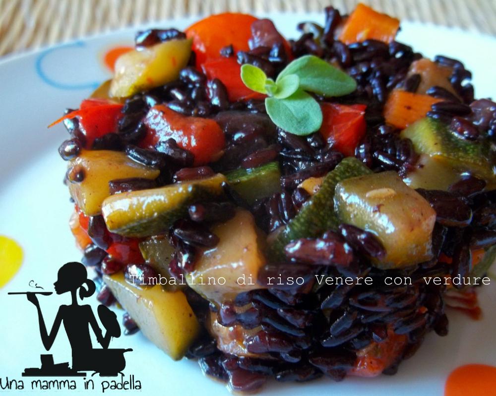 Timballino di riso Venere con verdure