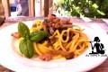 Spaghettoni funghi salsiccia e zafferano