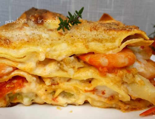 Lasagne con gamberi e broccoli