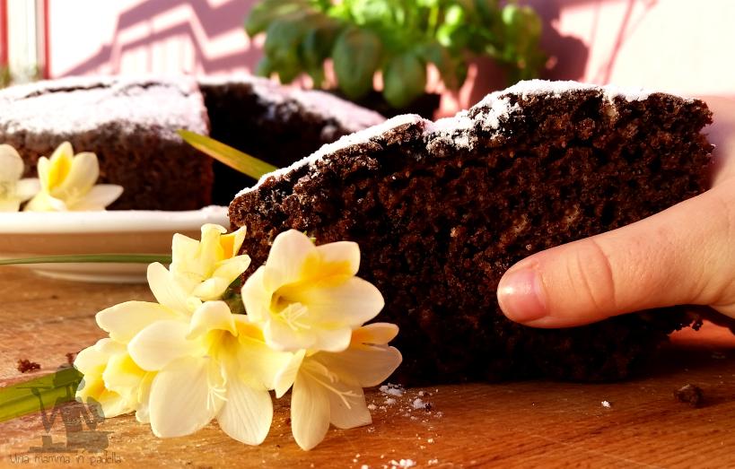 Torta all'acqua cacao e mandorle