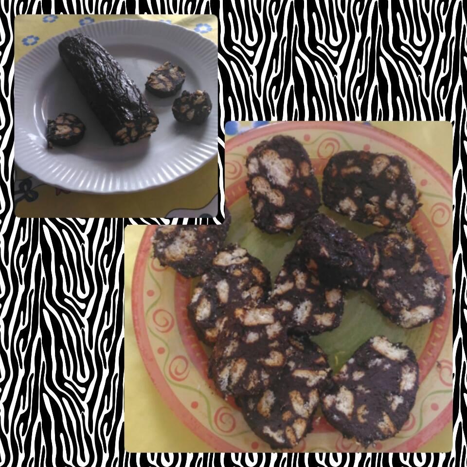 Salame di cioccolato senza uova e burro