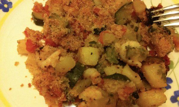 Gratin di verdure e gamberetti