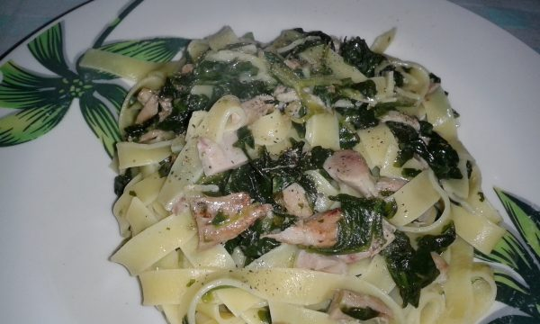 Fettuccine in bianco con spinaci e pollo