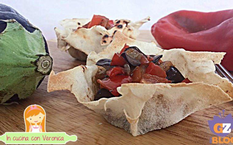Cestini di pane carasau con verdure