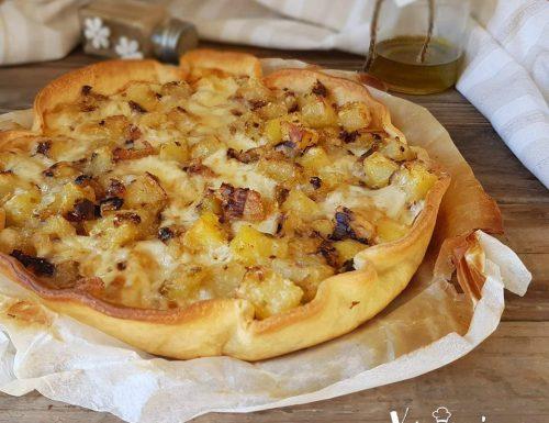 Torta brisé con patate e porri